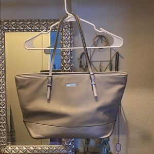 Nine West metallic silver and gray tote